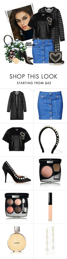 """""""Jean Dreams: Denim Skirts"""" by danijelapoly ❤ liked on Polyvore featuring Milly, Love Moschino, Boutique Moschino, Miu Miu, Chanel and Elsa Peretti"""