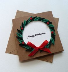 Small Square Christmas Card with Quilled Wreath 4 x by ToastyHugs
