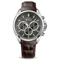 Chronograph Black Dial With Brown Leather Strap Men's Watch
