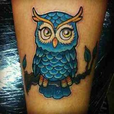 blue owl tattoo - cute