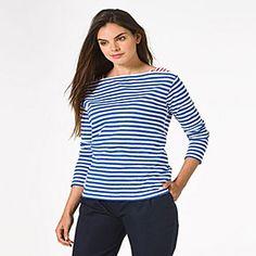 Love the red shoulders!  Petit Bateau US Official Online Store, PEBA-4557 Women's long-sleeved striped tee, petit-bateau.us