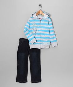 Take a look at this Blue Stripe Zip-Up Hoodie & Jeans - Infant, Toddler & Girls by Blow-Out on #zulily today!