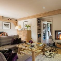 Snug Living Room with Fireplace in Traditional New Build Timber Framed House in Cornwall