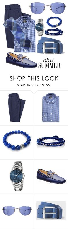 """""""Blue Summer"""" by sergio-amorim ❤ liked on Polyvore featuring Lands' End, Neiman Marcus, M. Cohen, Gucci, Cartier, Paul Smith, Tommy Hilfiger, men's fashion and menswear"""