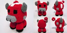i crochet things: Pattern: Minecraft Mooshroom Amigurumi Cute Crochet, Crochet For Kids, Crochet Crafts, Crochet Dolls, Yarn Crafts, Crochet Baby, Crocheted Toys, Beautiful Crochet, Minecraft Crochet Patterns
