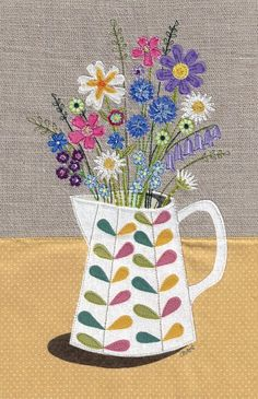 Items similar to Floral fabric art work. print of original textile illustration of flowers in a Orla Kiely jug. Applique and free motion embroidery. on Etsy Freehand Machine Embroidery, Free Motion Embroidery, Embroidery Fabric, Free Machine Embroidery, Machine Quilting, Embroidery Stitches, Embroidery Patterns, Floral Embroidery, Floral Fabric
