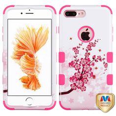 iPhone 7 Plus Phone Case - MYBAT Spring Flowers/Electric Pink TUFF Hybrid Phone Case…