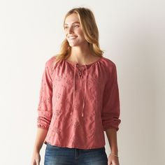 Women's SONOMA Goods for Life™ Eyelet Lace-Up Peasant Top, Size: Medium, Light Red