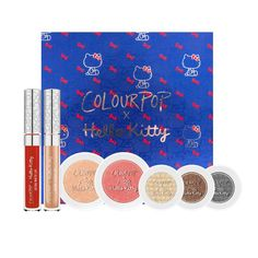 Colourpop X Hello Kitty (Hello Pretty). Colourpop X Hello Kitty. Inlcudes: 1 highlighter Yummy Cookies, 1 blush Fun With Friends. 3 eyeshadows: Juicy Apple, Sticker Sheet, Bento Box. 1 ultra matte lips: Ribbon: Matte finish rich blue red. 1 ultra glossy lips: KT: Sheer finish light gold sprinkled with pink and gold glitter.