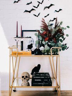 Bar Cart Styling - The Halloween Edition - Andee Layne Chic Halloween Decor, Modern Halloween, Spooky Decor, Halloween Boo, Halloween House, Happy Halloween, Halloween Decorations, Halloween Inspo, Halloween Birthday