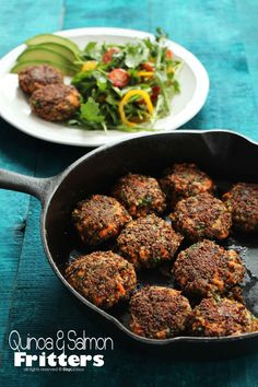 QUINOA AND SALMON FRITTERS - made these in Jan. 2016. So good. Indian flavor. Great use for leftover salmon.