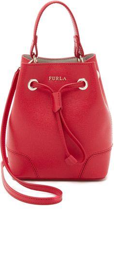 25547601adb Furla Stacy Mini Drawstring Bucket Bag Red Bags, Leather Backpack,  Beautiful Bags, Purses