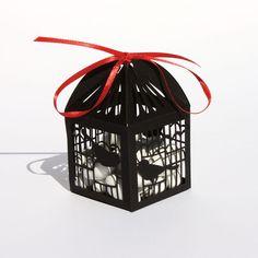Romantic laser cut favor box - Birdcage