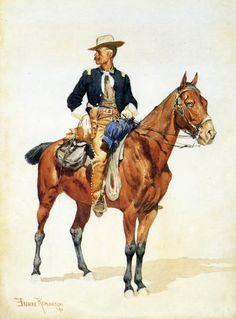 Lieutenant S. Robertson, Chief of the Crow Scouts : Frederic Remington : Museum Art Images Frederic Remington, American Indian Wars, American War, West Art, Cowboy Art, Western Cowboy, Texas, Le Far West, Military Art