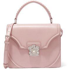 Alexander McQueen Flower embellished leather shoulder bag (£1,345) ❤ liked on Polyvore featuring bags, handbags, shoulder bags, purses, pink, pink purse, hand bags, handbags purses, man bag and leather handbags