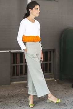 We likey-likey Leandra Medine's party on the top, business on the bottom street style at NYFW.