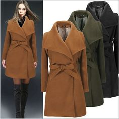 2016 Fall Winter Women's Overcoats Wool Coats Female Waist Tie-up 3 Colors Plus Size Costume for Women