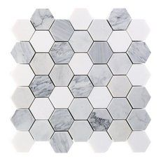Egret Gray 2 in. Hexagon Polished Marble Mosaic - 12 x 12 - 100696905 Egret Gray 2 in. Hexagon Polished Marble Mosaic - 12 x 12 - 100696905