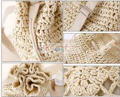 bolsa de franja fringe Crochet shoulder bags woven rattan straw bag Bucket backpack beach summer hollow out  bag 2015 New