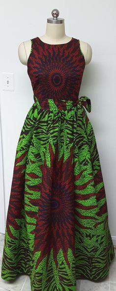 African Print Fitted Waist Sleeveless Wrap Back Maxi Dress.