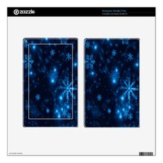 Deep Blue & Bright Snowflakes Kindle Fire Skin - diy cyo personalize design idea new special custom