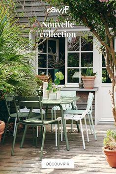 Mobilier de Jardin : table, chaises, salon, transats, cuisine d'extérieur... Découvrez nos collections pour l'aménagement de jardin ! Diy Terrasse, Outdoor Dining, Outdoor Decor, Diy Patio, Garden Styles, Garden Paths, Cottage Style, Home Deco, Outdoor Gardens
