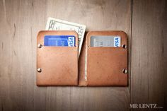 Minimal Leather Wallet Leather Card Wallet Slim Wallet by MrLentz