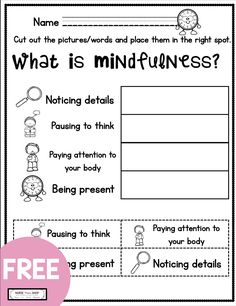 FREE mindfulness for tools for kids - free mindfulness printables and curriculum - free kindergarten social emotional learning - first grade freebie worksheets - teach mindfulness - mindful parenting - elementary school counseling What Is Mindfulness, Mindfulness For Kids, Mindfulness Activities, Mindful Activities For Kids, Cbt Worksheets, Therapy Worksheets, Therapy Activities, Elementary School Counselor, Teaching