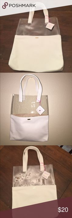 """SALE❤️Ban.dō Peekaboo Tote SALE! ❤️⬇️Brand New! Perfect for trips to the beach, shopping or just about anyplace you need to tote things to & from. White leather like handles with same materials in white on bottom 10.5"""". Clear vinyl on top 8"""". Inside is a suede like cream fabric. Beautiful!! Ban.dō Swim"""