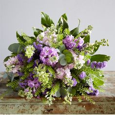 Lovely scented Stocks in an arrangement from the English queen of flowers.. Jane Packer!