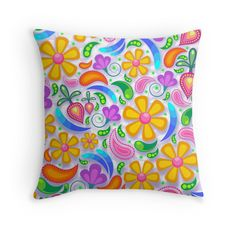 #Flower #Floral #Patterns #Colorful #pillow #abstract