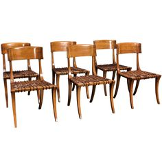 """A Set of Fruitwood """"Klismos"""" Dining Chairs by T.H. Robsjohn Gibbings for Saridis of Athens ca1961"""