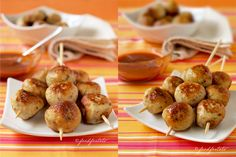 Chicken and apple balls, barbecue dip, chicken balls, finger food, party food