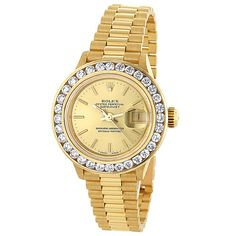 18k Yellow Gold Ladies ROLEX Oyster Diamond Watch Perpetual Date just 3ct  Now 42% off