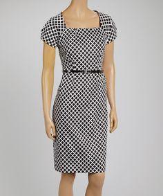 Another great find on #zulily! Black & White Checker Square Neck Dress by Joy Mark #zulilyfinds