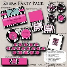 I like this for bridal shower theme. Zebra Print Party Pack  DIY Printables  by domesticallyswanky, $12.00