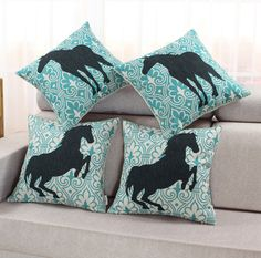 Vintage Cushion Covers Pillows Shell Teal Decor Pattern Black Horse 45cm X 45cm