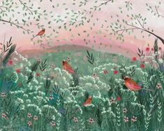 """ Rosy Pink Landscape "" : © Joy Laforme (American, New York) Painting and Illustration Landscape Artwork, Landscape Prints, Rodin, Canvas Artwork, Canvas Art Prints, New York Painting, Cottage Art, Decoration, Framed Art"
