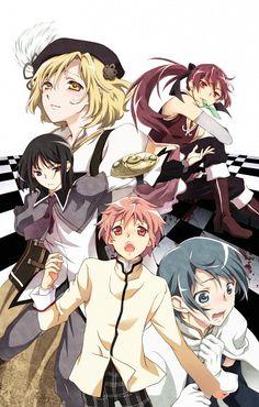 Male!Mami, Male!Kyoko, Male!Homura, Male!Madoka, and Male!Sayaka ||| Puella Magi Madoka Magica Fan Art