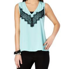 Eyelash Lace Chiffon Tank Here's a sweet chiffon tank that's casual enough to layer on for day, and dressy enough to stand out alone on a night out! It features a swatch of pretty black eyelash lace and a flattering deep V-neck.  Flattering high-low hem 100% polyester Machine wash Model wears size Small Rue 21 Tops Tank Tops