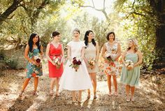 Pick 'n' Mix your Bridesmaid Dresses! The Mix Match Wedding Trend. Love those colors too!
