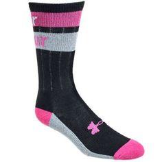 Under Armour Socks: Women's U517 BLK/FUS Black/Fuchsia Double Stripe Socks - Socks - Footwear