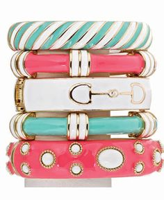 Love enamel bracelets and rings.