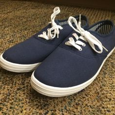 Blue Van style shoes from Charlotte Russe. Navy Blue style vans by Charlotte Russe. They have never been worn. Charlotte Russe Shoes Sneakers