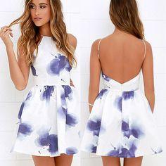 Fancyinn® Women Sexy Backless Spaghetti Strap Floral Print Short Mini Casual Dress