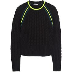 T by Alexander Wang Neon-trimmed cropped cable-knit sweater (£118) ❤ liked on Polyvore featuring tops, sweaters, black, cable sweater, black cable sweater, cableknit sweater, neon sweater and black cropped sweater