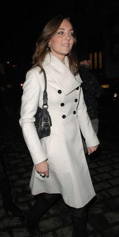 One of Kate's favourite coats is the Reiss Olivia. Kate celebrated her 26th birthday at Kitts nightclub wearing the ivory A-line coat.