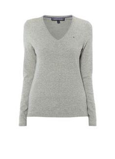 Tommy Hilfiger New Ivy V-hals pullover grijs