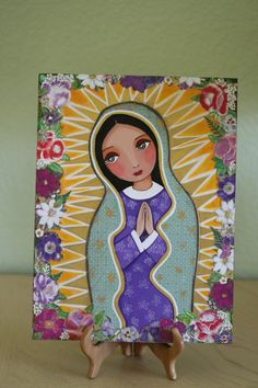 Our Lady Of Guadalupe - Folk art, Christian art, Original Mixed Media Painting On Wood Panel 8X10 inch (20.5X 25.5 cm) by Evona