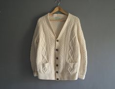 60s Aran Pure Wool Cardigan / Hand Knitted by VioletsAtticVintage #aran #vintage #sweater #cardigan #jumper #cream #handknit #handknitted